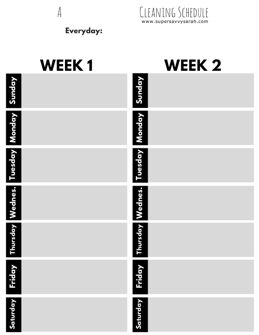 """A Realistic Weekly Cleaning Schedule Template - Greyscale"" Download Pdf"
