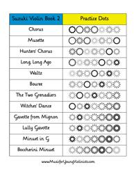"""""""Suzuki Violin Music Practice Chart - Book 2"""""""