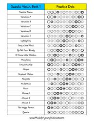 """Suzuki Violin Dots Practice Chart - Book 1"""