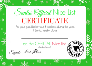 """Santa's Official Nice List Certificate Template - Green"""