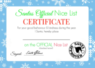 """Santa's Official Nice List Certificate Template - Blue"""