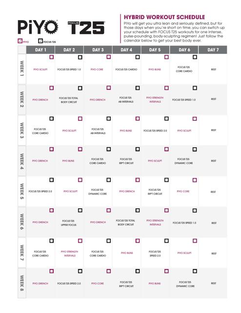 Piyo T-25 Hybrid Workout Schedule Template Download Printable PDF