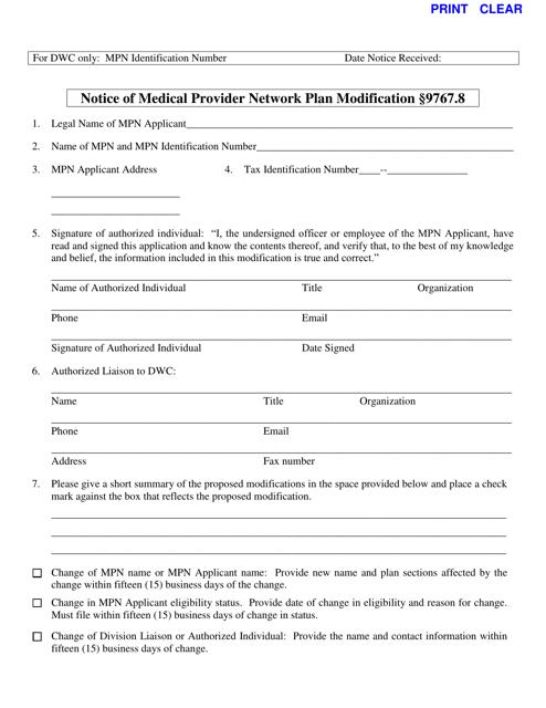 DWC Form 9767.8  Printable Pdf