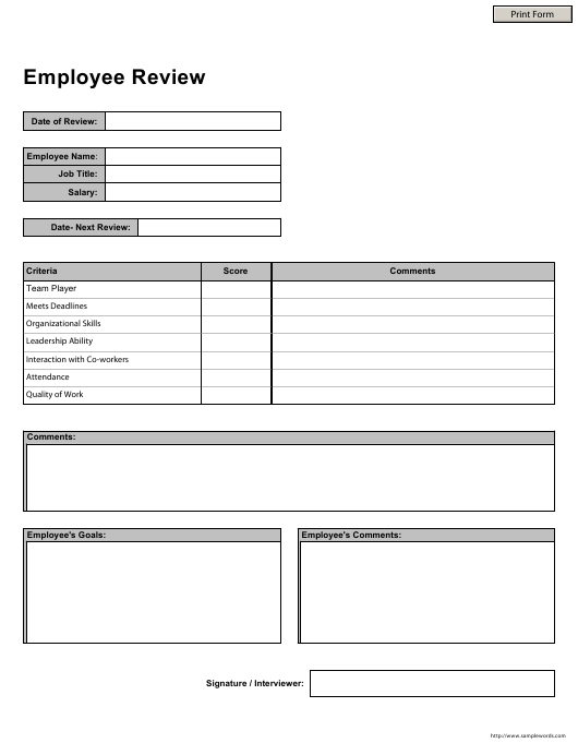 """Employee Review Template"" Download Pdf"
