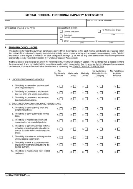 Form SSA-4734-F4-SUP Printable Pdf