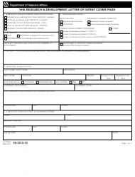 VA Form 10-1313-13 VHA Research and Development Letter of Intent Cover Page