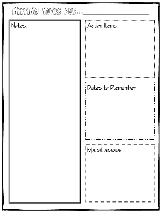 """""""Meeting Notes Template"""" Download Pdf"""