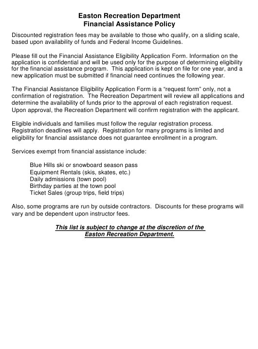 """Financial Assistance Eligibility Application Form"" - Easton, Massachusetts Download Pdf"
