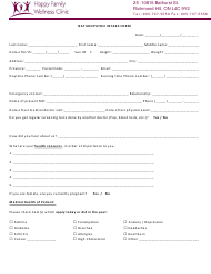 """Naturopathic Intake Form - Happy Familiy Wellness Clinic"""