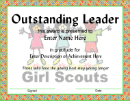 Girl Scouts Outstanding Leader Award Certificate Template