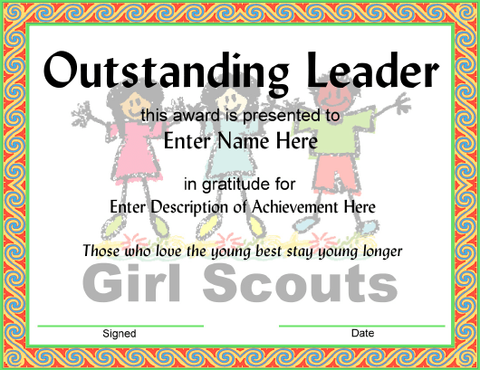 """""""Girl Scouts Outstanding Leader Award Certificate Template"""" Download Pdf"""