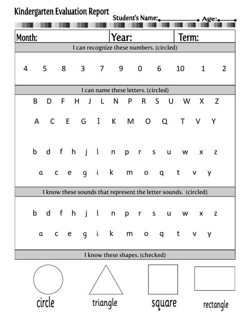 """""""Kindergarten Evaluation Report Template"""" Download Pdf"""