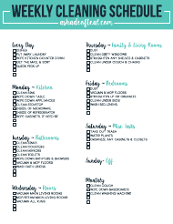 Weekly Cleaning Schedule Templates Pdf Download Fill And