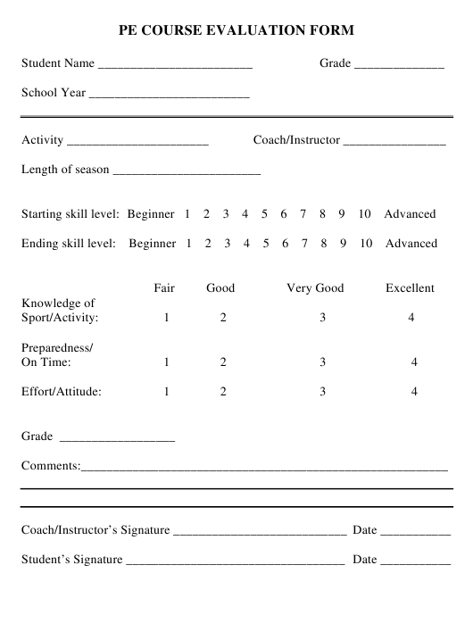"""Pe Course Evaluation Form"" Download Pdf"