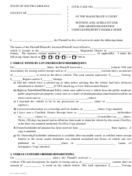 "Form SCCA/269 ""Petition and Affidavit for Discarded or Abandoned Vehicles Property Mobile Home"" - South Carolina"