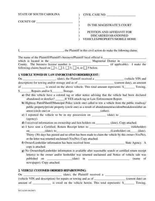Form SCCA/269  Printable Pdf