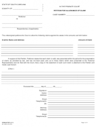 Form 373PC Petition for Allowance of Claim - South Carolina
