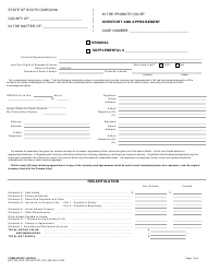 "Form 350PC ""Inventory and Appraisement Form"" - South Carolina"