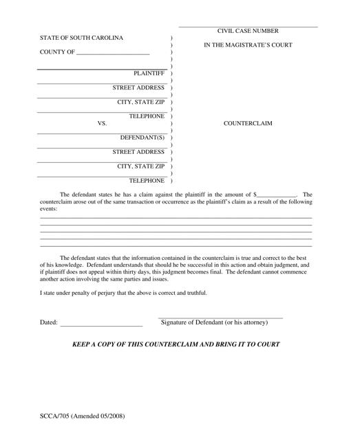 Form SCCA/705  Printable Pdf