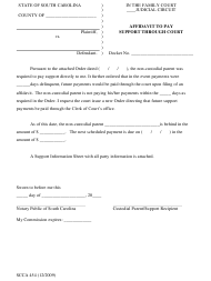 "Form SCCA454 ""Affidavit to Pay Support Through Court"" - South Carolina"