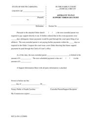 "Form SCCA454 ""Affidavit to Pay Support Through Court"" - South Carolina"