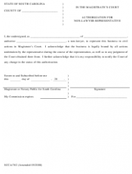 Form SCCA/762 Authorization for Non Lawyer Representative - South Carolina