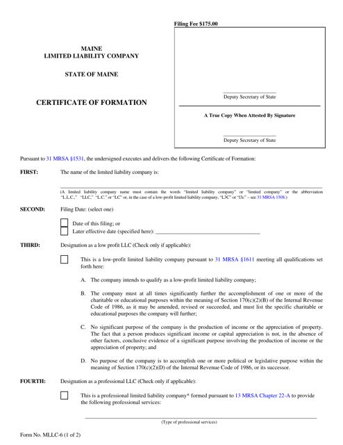 Form MLLC-6  Printable Pdf
