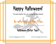 Halloween Award Certificate Template