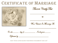 White Rose Certificate of Marriage Template - Cursive