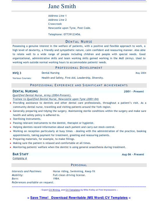 "Sample ""Dental Nurse Resume"" Download Pdf"