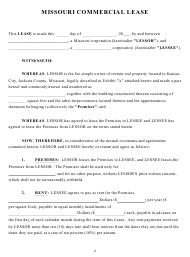 """Commercial Lease Agreement Template"" - Missouri"