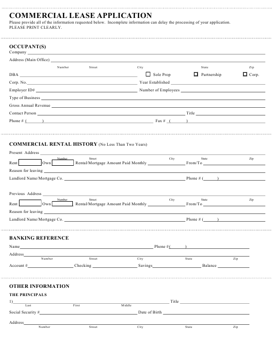 """""""Commercial Lease Application Form"""" Download Pdf"""