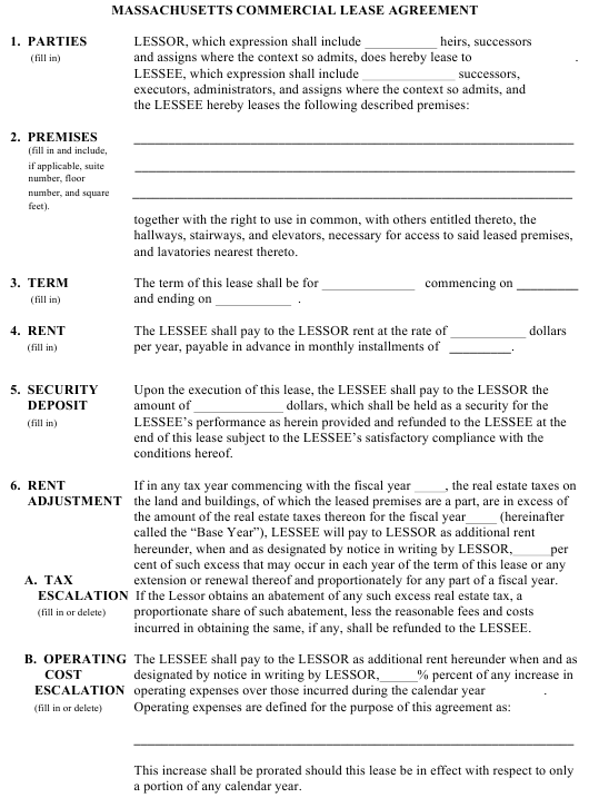 Commercial Lease Agreement Template - Massachusetts Download Pdf