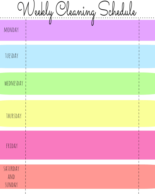 """""""Multicolor Weekly Cleaning Schedule Template"""" Download Pdf"""