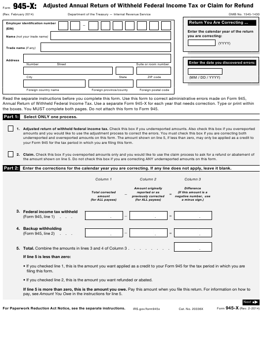 IRS Form 945-X Fillable Pdf