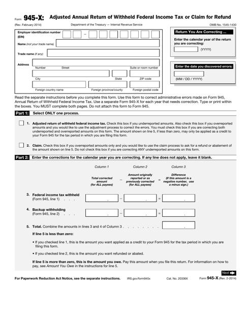 IRS Form 945-X Printable Pdf