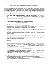 "Form SC-6.4(B) ""Inventory of Special Conditions of Probation"" - Georgia (United States)"