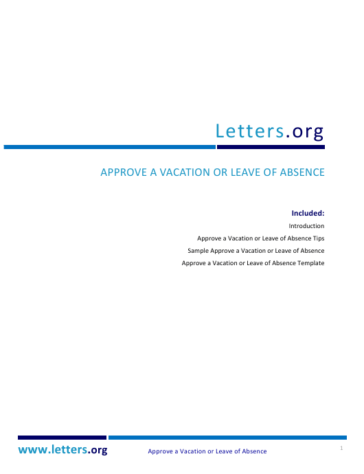"""Approve a Vacation or Leave of Absence Template"" Download Pdf"