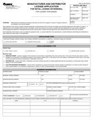"Form DSD10 ""Manufacturer and Distributor License Application for License or Renewal"" - Virginia"