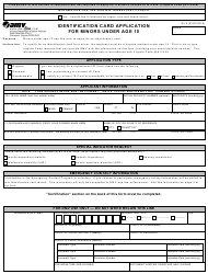 Form DL 5 Identification Card Application for Minors Under Age 15 - Virginia