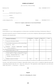"Form GST-RFD-07 ""Order for Complete Adjustment of Sanctioned Refund"" - Karnataka, India"