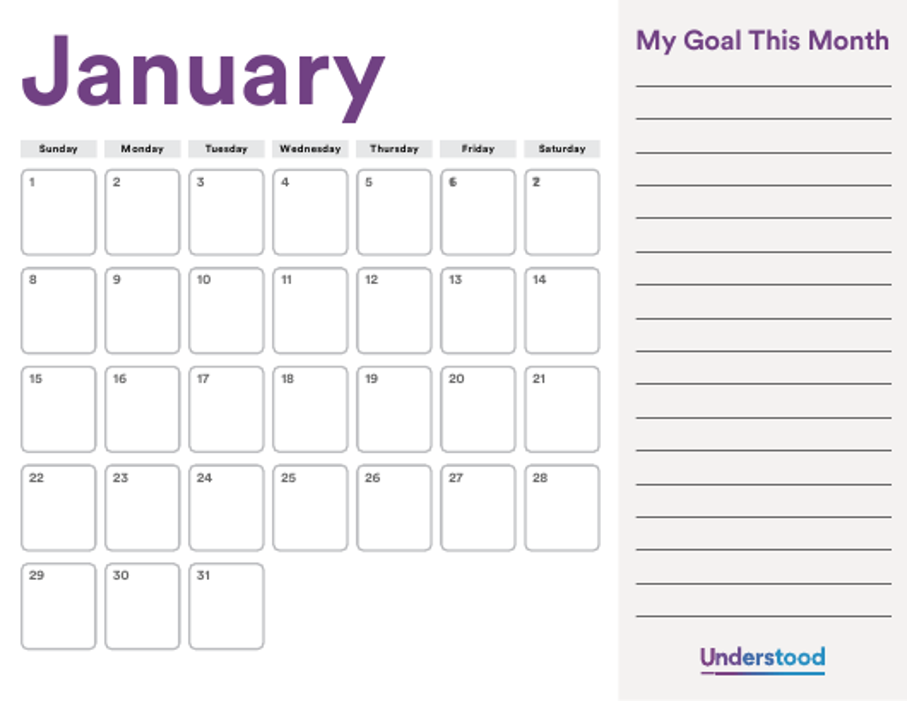 """Goals Calendar Template"" Download Pdf"