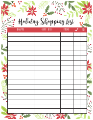 Holiday Shopping List Template