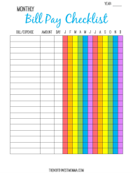 """Multicolor Monthly Bill Payment Checklist Template"""