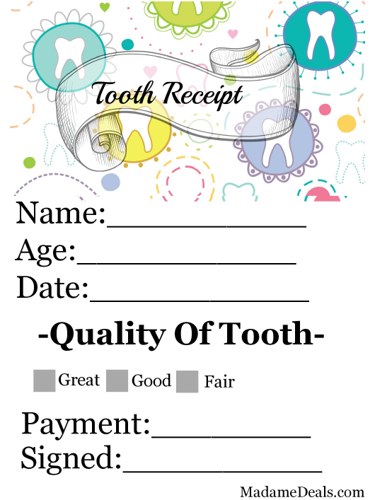 """Tooth Receipt Certificate Template"" Download Pdf"