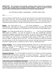 """Letter Employment Agreement Template - Exempt Employee"""