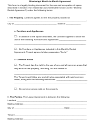 """Month-To-Month Agreement Template"" - Mississippi"