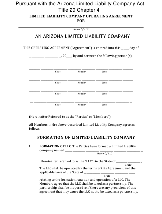 """""""Limited Liability Company Operating Agreement Template"""" - Arizona Download Pdf"""