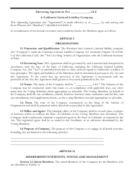 """LLC Operating Agreement Template"" - California"