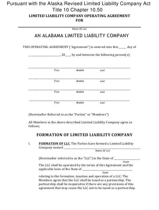 """""""Limited Liability Company Operating Agreement Template"""" - Alaska Download Pdf"""